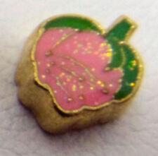 charm for living glass floating locket, pink rose