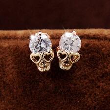 Vintage Stud Earrings Women Crystal Rhinestone Gold Plated Skull Stud Earrings