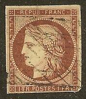 "FRANCE N°6""CERES 1F CARMIN"" OBLITERE VALEUR:900€ A VOIR"
