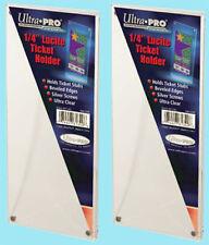 "2 Ultra Pro 1/4"" LUCITE TICKET HOLDERS NEW Currency Stub Acrylic Slab Screwdown"