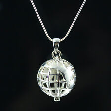 925 Sterling Silver Necklace - Earth Globe Necklace World Traveller Locket