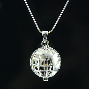 925 Sterling Silver Necklace - Earth Globe Necklace World Traveller Locket