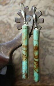 Vintage Jewelry 925 Silver Turquoise Boho Ear Stud Hoop Dangle Wedding Earrings