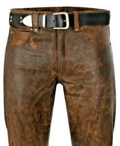 Lederjeans NEU W38 Lederhose 54 antik braun leather pants brown trousers 38 Cuir