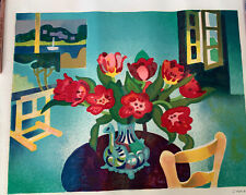 Vintage Signed Lithograph Guy Charon 5/375 Interior w/ Flowers Paintings Window