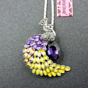 Charm Purple Crystal Enamel Peacock Pendant Betsey Johnson Chain Necklace/Brooch