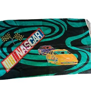 Vintage Nascar Pillow Case Cover 18x30 Standard Racing Cars Made In USA