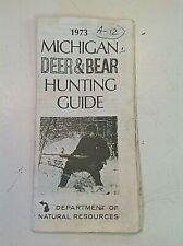 Vintage 1973 Michigan Dnr Deer and Bear Hunting Guide Brochure Map Seasons Dates