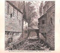 Outfall.Serpentine.Knightsbridge.London.1879.Antique print.Historical.Genuine