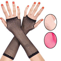 Sexy 80s Goth Punk Mid Length Fishnet Open Fingerless Gloves Arm Warmers Costume