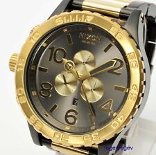 New NIXON Watch Mens 51-30 CHRONO Gunmetal & Gold A083-595 A083595 NWT box