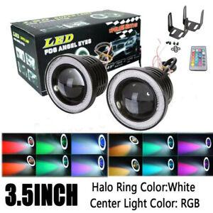 "2pcs High Power 3.5"" Projector RGB LED Fog Light White COB Halo Angel Eye Rings"