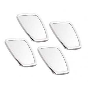 VESPA/LAMBRETTA Chromed Rectangle Stadium Mirror Head White Rubber MOD x4