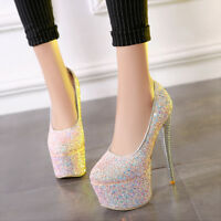 Womens Stiletto High Heels Shiny Platform Pumps Wedding Party Shoes UK Size 1-12