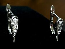 2 Sterling Silver earring findings hooks with Cubic Zirconia  cz Leverback