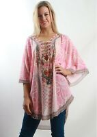 Spicy Sugar Pink White Embellished Kaftan Size S/M L/XL 8 10 12 14 16
