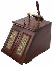 Antique Art Nouveau beech walnut and brass coal scuttle box C1910