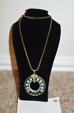 AVON COSTUME JEWELRY ANTIQUE BRONZE LONG CHAIN STATEMENT NECKLACE BLUES GREEN