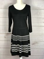 AB Studio Womens Sweater Dress Black & White Stripe 3/4 Sleeve Knit Size L