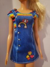 PETITE BARBIE DOLL CLOTHES  DRESS OVERALL DRESS RAINBOW SHIRT