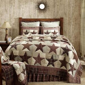 Abilene Star Full Queen Quilt Hand Stitched Country Patchwork Burgundy Red + Tan