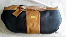 NEW $252.JOY MANGANO LEATHER DUFFLE BAG BLACK/SADDLE WITH WHEELS CARRY ON