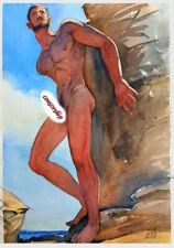 "Art Gay Watercolor ""Angel By The Rocks"""