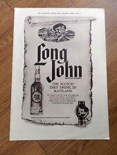 1962 Long John Scotch Whiskey Whisky Ad Scotland