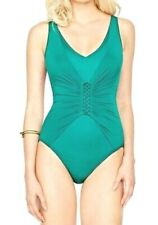 GOTTEX One Piece Swimsuit Landscape Green Lace Up V-Neck 14 NEW