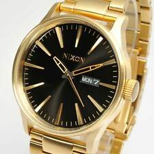 New NIXON Mens Watch Sentry SS All Gold / Black A356-510 A356510