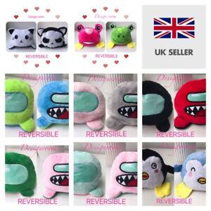 Cute Double-Sided Flip Reversible Emotion Plush Toys Animals Doll Gift UK SELLER