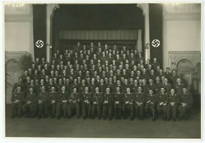 Large Portrait Photo Luftwaffe Soldier Group Massive Hakenkreuz Flags Potsdam