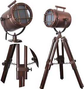 Brass Nautical Searchlight Table Lamp Spotlight Wooden Tripod Stand Vintage Gift