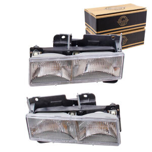 Composite Headlights Set fits 1990-2002 GMC Chevrolet Pickup SUV Pair Headlamps