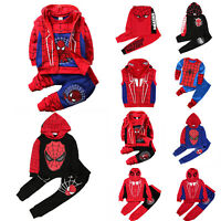 Kids Boy Girl Spiderman Tracksuit Hooded Hoodie Sweatshirt Jacket Coat Pants Set