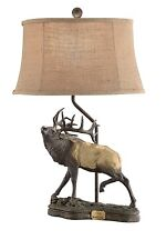 NEW RESIN ELK LARGE HORNS TABLE LAMP / LIGHT BURLAP SHADE WESTERN CABIN FOREST