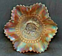 Antique Dugan Carnival Glass, Iridescent Marigold Ruffled Dish, Wildflower, Rare
