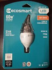 Ecosmart 60W Soft White LED Light Bulb Candelabra Base Dimmable LED Flame Tip
