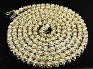 """14K Yellow Gold Over Mens 25 Ctw White Diamond 4 MM Tennis Chain Necklace 32"""""""
