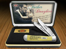 CASE XX Father & Daughter Yellow Delrin Trapper Stainless Pocket Knives Knife