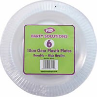 "18 x CLEAR ROUND PLASTIC DISPOSABLE PARTY PLATES 7"" 18cm STRONG DURABLE REUSABLE"