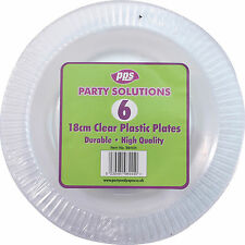 "24 x CLEAR ROUND PLASTIC DISPOSABLE PARTY PLATES 7"" 18cm STRONG DURABLE REUSABLE"