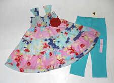 NEW Baby Nay Boutique Roses Smocked Floral Dress~Gap Aqua Blue Leggings Set 4 4T