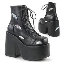 "DEMONIA Gothic Punk Lolita 5"" Heel Platform Black Ankle High Boots  w/ Bats"