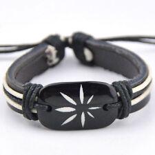 Tribal style Marijuana leaf leather bracelets Adjustable Bangle