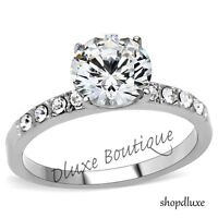 Beautiful Round Cut Stainless Steel AAA CZ Engagement Ring Women's Size 5-10