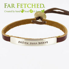 Leather Quote Bracelet Cuff Word Bracelet FOLLOW YOUR HEART Far Fetched Taxco
