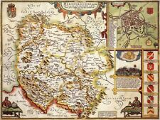 HEREFORDSHIRE 1610 by John Speed - reproduction old map