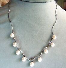 Vintage JTV Creamy White Drop Cultured Pearl Sterling Silver Necklace wedding