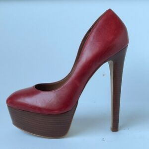 Steve Madden Womens Wooden Heel Platform Leather Pumps in Red 9M